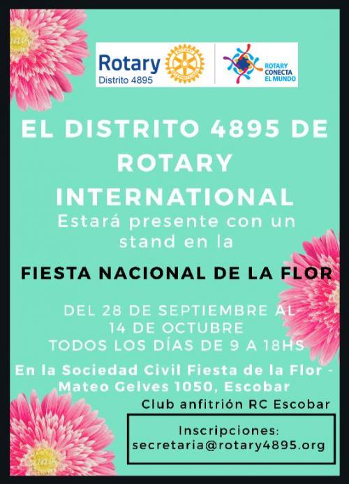 Rotary D.4895 en Fiesta Nacional de la Flor en ciudad de Escobar