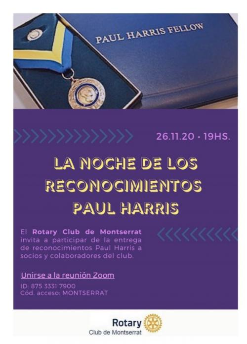 Flyer La Noche de los Paul Harris