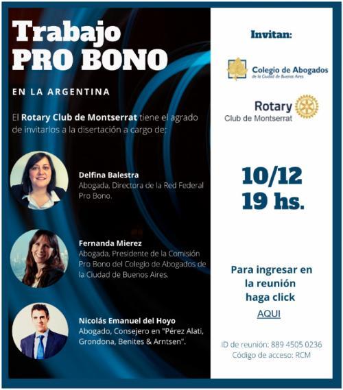 Flyer Trabajo Pro Bono en Argentina